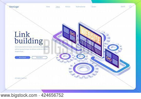 Link Building Isometric Landing Page. Search Engine Optimization, Seo Effective Method. Hyperlink Co