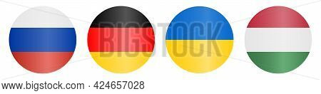 Flags of countries. Russia, Germany, Ukraine, Hungary. Horizontal lines. Set of colored vector icons. Isolated white background. National symbol of the state. Political topics. Flat style. Idea for web design, sticker.