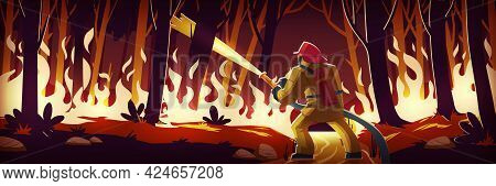 Fireman Fight With Fire In Forest, Man Extinguish Burning Wildfire At Night Wood With Raging Flames.
