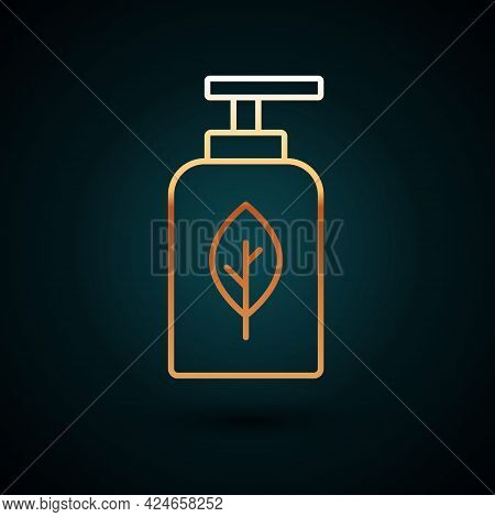 Gold Line Essential Oil Bottle Icon Isolated On Dark Blue Background. Organic Aromatherapy Essence.
