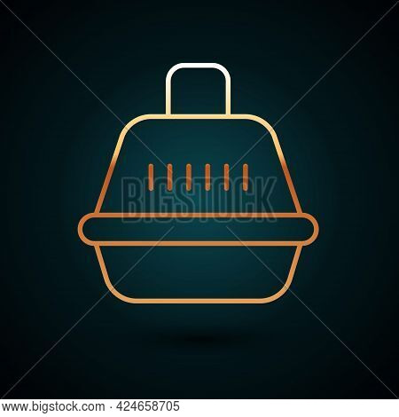 Gold Line Pet Carry Case Icon Isolated On Dark Blue Background. Carrier For Animals, Dog And Cat. Co