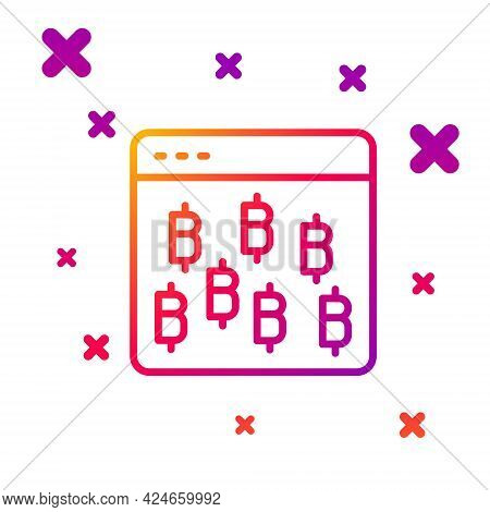 Color Line Cryptocurrency Coin Bitcoin Icon Isolated On White Background. Physical Bit Coin. Blockch
