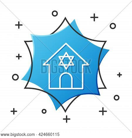 White Line Jewish Synagogue Building Or Jewish Temple Icon Isolated On White Background. Hebrew Or J