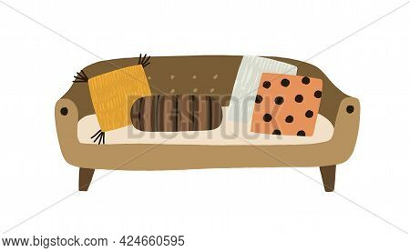 Cozy Modern Sofa With Cushions In Retro Style. Front View Of Trendy Couch And Pillows. Divan With Up