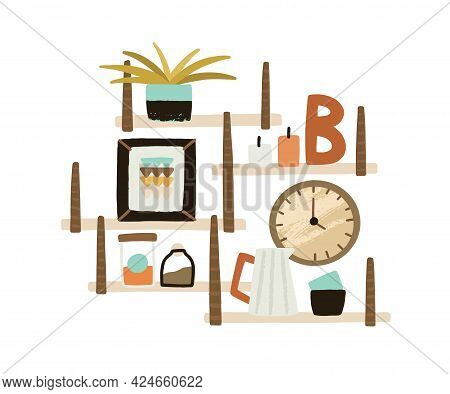 Wooden Wall Shelves With Potted Plant, Candles, Clocks, Bottles, Pitcher And Cups For Home Interior