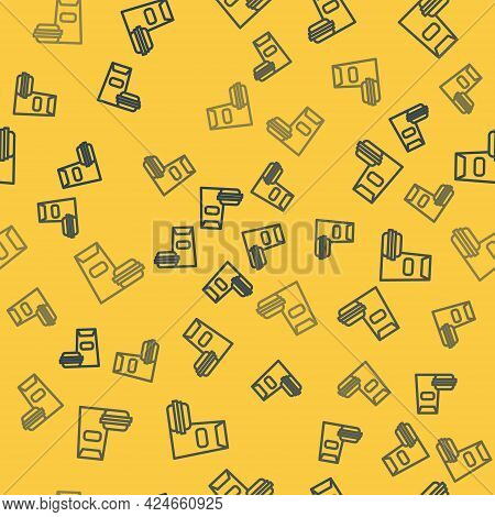 Blue Line Burger Icon Isolated Seamless Pattern On Yellow Background. Hamburger Icon. Cheeseburger S