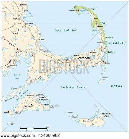 Vector Road Map Cape Cod, Martha´s Vineyard, Nantucket, Massachusetts, Usa
