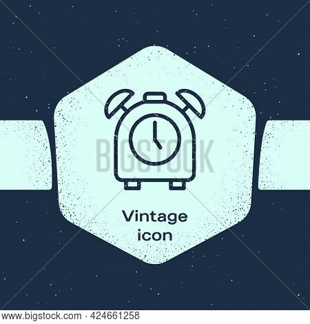 Grunge Line Alarm Clock Icon Isolated On Blue Background. Wake Up, Get Up Concept. Time Sign. Monoch