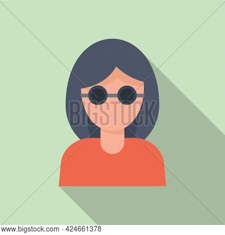 Woman Blind Icon. Flat Illustration Of Woman Blind Vector Icon For Web Design