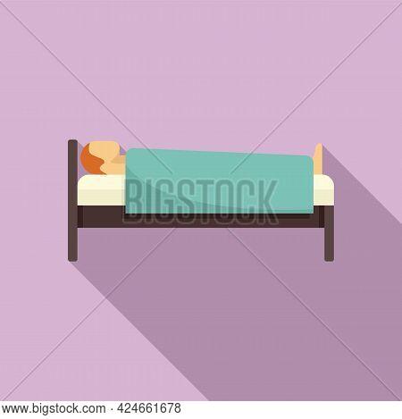Man At Hospital Bed Icon. Flat Illustration Of Man At Hospital Bed Vector Icon For Web Design