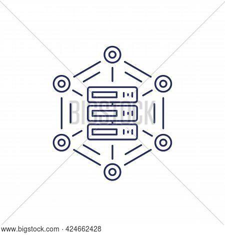 Mainframe, Server Or Hosting Service Line Icon