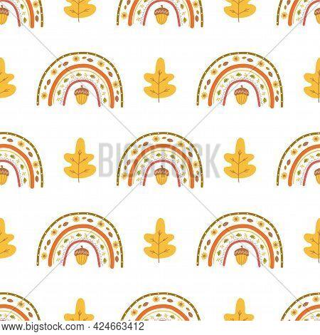 Fall Rainbow Pattern, Fall Leaves, Acorn. Cute Autumn Seamless Background. Kids Autumn Rainbow. Than