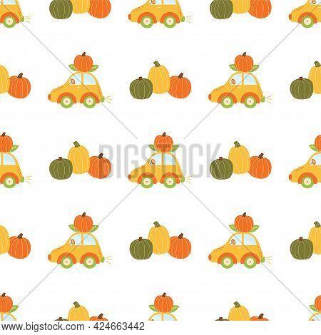 Fall Pumpkin Pattern. Fall Car. Cute Autumn Seamless Background, Autumn Transport. Pumpkin Vehicle T