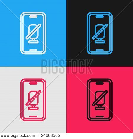 Pop Art Line Mute Microphone On Mobile Phone Icon Isolated On Color Background. Microphone Audio Mut