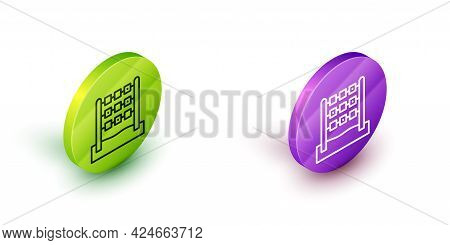 Isometric Line Tic Tac Toe Game Icon Isolated On White Background. Green And Purple Circle Buttons.