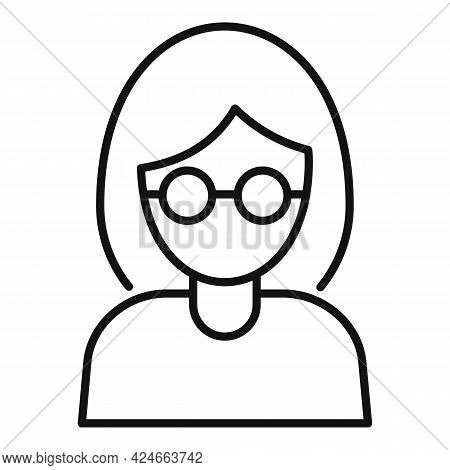 Woman Blind Icon. Outline Woman Blind Vector Icon For Web Design Isolated On White Background