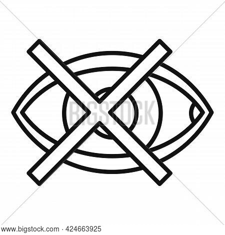 Blind Eye Icon. Outline Blind Eye Vector Icon For Web Design Isolated On White Background