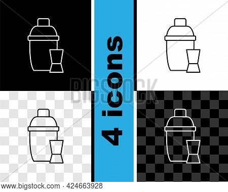 Set Line Cocktail Shaker With Cocktail Glass Icon Isolated On Black And White, Transparent Backgroun