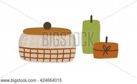 Casket And Candles Composition. Cozy Hygge Items For Home Interior Decoration In Scandinavian Style.
