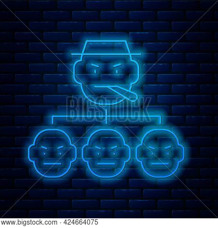 Glowing Neon Line Mafia Icon Isolated On Brick Wall Background. Boss And Gangsters. Vector
