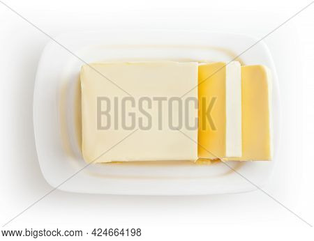Butter On White Butter Dish Isolated On White Background With Clipping Path