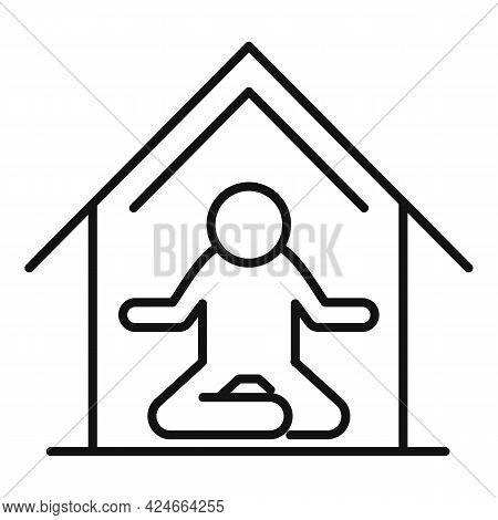 Home Training Meditation Icon. Outline Home Training Meditation Vector Icon For Web Design Isolated