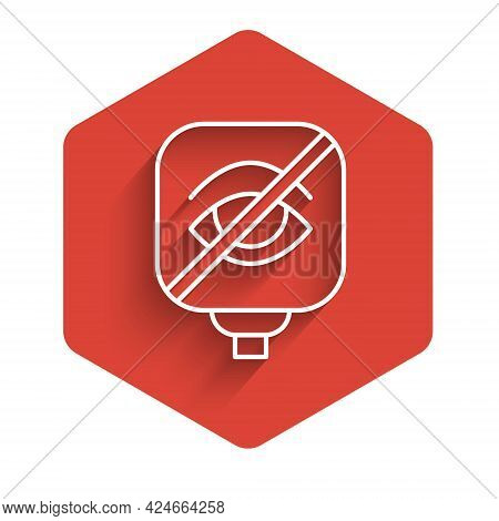 White Line Blindness Icon Isolated With Long Shadow. Blind Sign. Red Hexagon Button. Vector