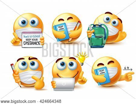 Emoji Back To School Safety Guidelines Vector Set. Emojis 3d Student Character In Covid-19 Safety Me