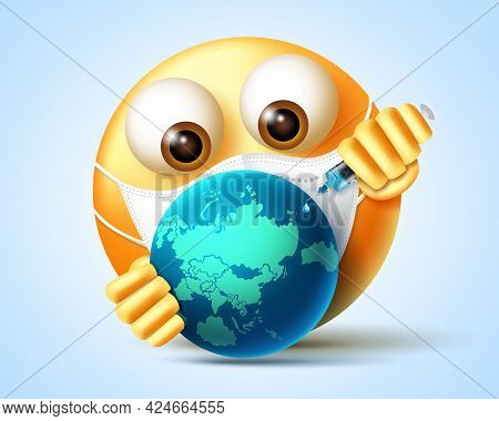 Emoji Covid-19 Vaccine Vector Design. Emojis 3d Character Vaccinating The World With Syringe Element