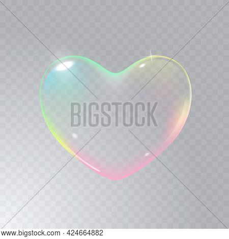 Realistic Transparent Multicolored Rainbow Vector Soap Bubble Shaped As Heart. Romantic Glossy Soapy