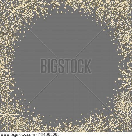 Winter Vector Frame With Arabesques And Snowflakes. Gray And Golden Greeting Card. Pattern With Snow