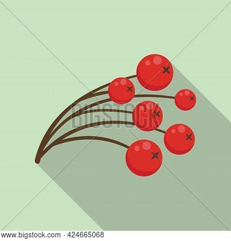 Rowan Vitamin Berry Icon. Flat Illustration Of Rowan Vitamin Berry Vector Icon For Web Design
