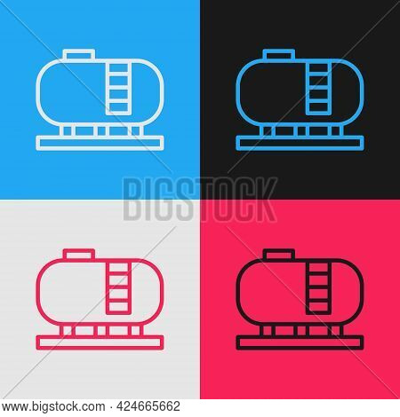 Pop Art Line Oil Tank Storage Icon Isolated On Color Background. Vessel Tank For Oil And Gas Industr