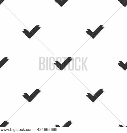 Seamless Pattern With Black Paint Strokes Or Ticks On White Background. Ethnic Symmetric Background.