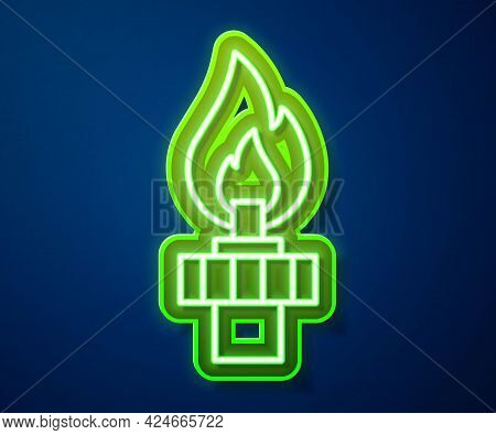 Glowing Neon Line Oil Rig With Fire Icon Isolated On Blue Background. Gas Tower. Industrial Object.