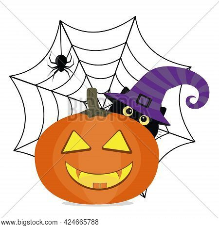 Black Cat In A Witch Hat On Halloween With A Pumpkin, On The Background Of A Spider Web With A Spide
