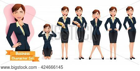 Businesswoman Characters Vector Set. Business Woman Character In Standing, Thinking And Kneeling Pos