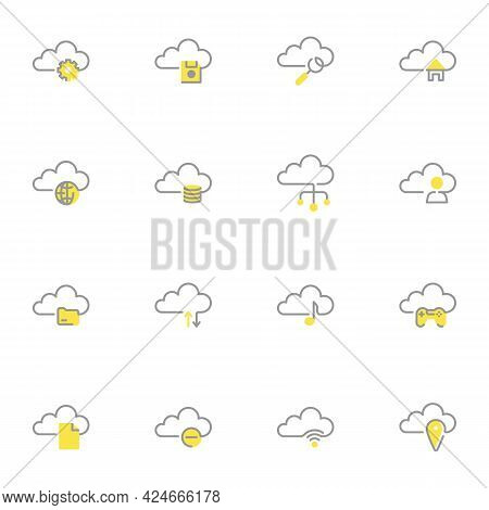 Cloud Computing Storage Line Icons Set, Outline Vector Symbol Collection, Linear Style Pictogram Pac