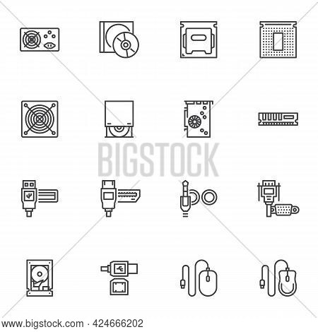 Computer Hardware Line Icons Set, Pc Parts Outline Vector Symbol Collection, Linear Style Pictogram