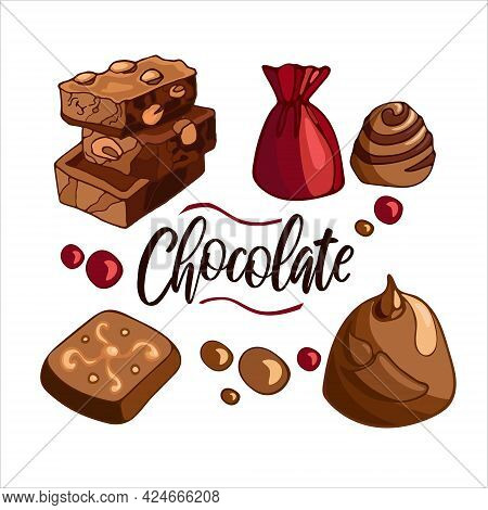 Set Bright Delicious Pieces Of Milk Chocolate With Nuts, Candies, Dragees. Celebrate World Chocolate