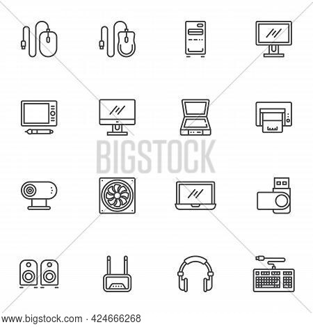Hardware And Devices Line Icons Set, Outline Vector Symbol Collection, Linear Style Pictogram Pack.