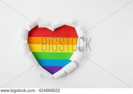 Symbol Heart Rainbow On White Backround. Lgbt. Pride Month. Lesbian Gay Bisexual Transgender. Love,