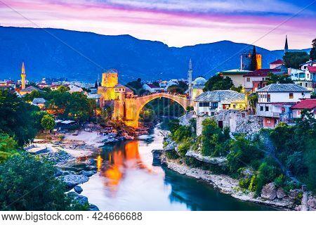 Mostar, Bosnia And Herzegovina. Stari Most, Old Ottoman Bridge And O The Old City, Balkan Peninsula