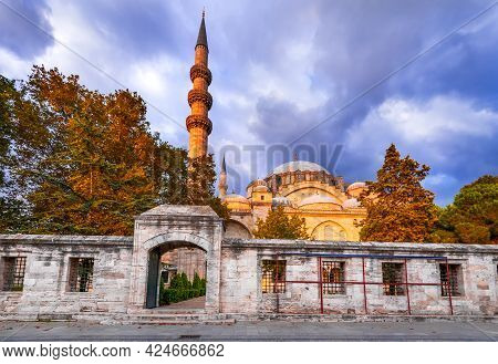 Istanbul, Turkey. The Suleymaniye Mosque Is  Ottoman Largest Imperial Mosque In Constantinople.