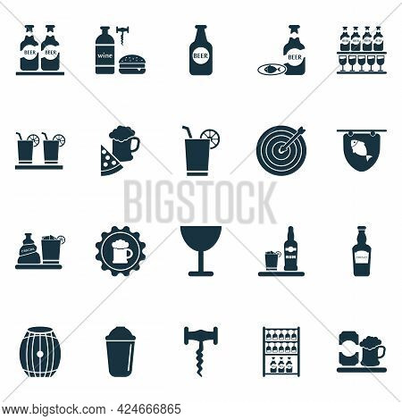 Drink Icons Set With Glassware, Darts, Beer Bottle And Other Lemonade Elements. Isolated Vector Illu