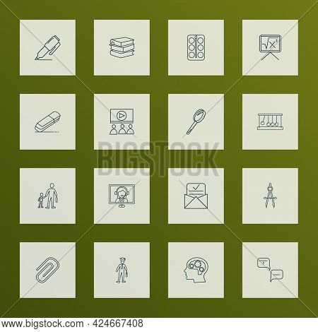School Icons Line Style Set With Question With Answer, Psychology, Primary School And Other Rubber E