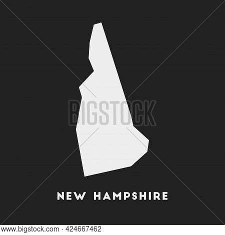New Hampshire Icon. Us State Map On Dark Background. Stylish New Hampshire Map With Us State Name. V