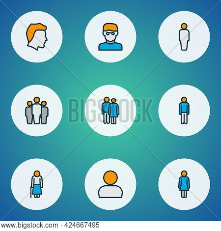 Human Icons Colored Line Set With Smart Man, Female, Couple And Other Scientist Elements. Isolated V