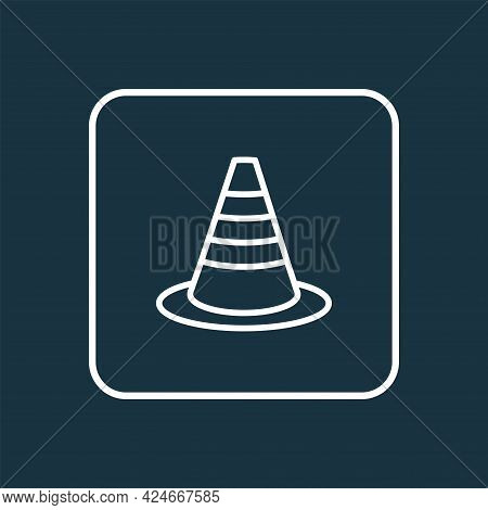 Warning Cone Icon Line Symbol. Premium Quality Isolated Obstacle Element In Trendy Style.