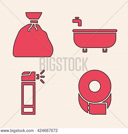 Set Toilet Paper Roll, Garbage Bag, Bathtub And Bottle With Nozzle Spray Icon. Vector